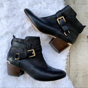 Coach Pauline Ankle Booties Leather Black Gold 5.5